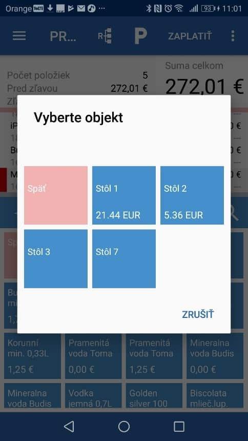 FiskalPRO aplikácia výber stolov