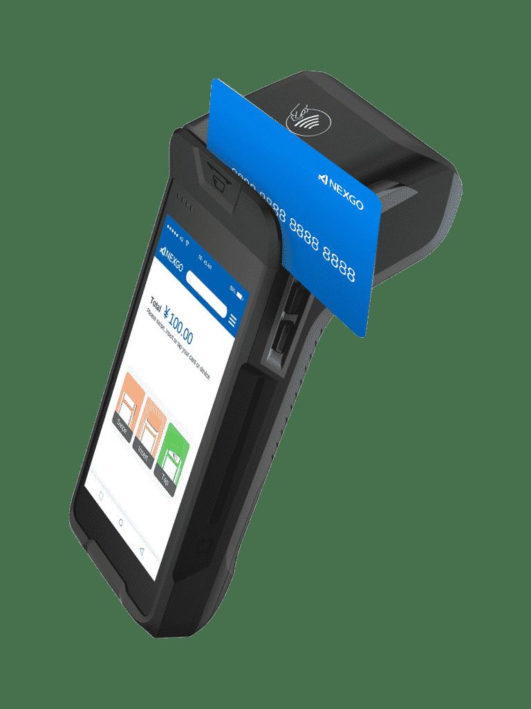 platba magnetickým pruhom na karte na platobnom termináli N86